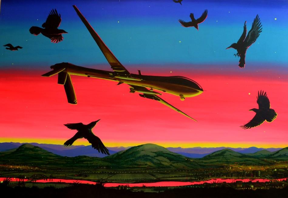 I have a drone 170 x 250 cm acrylic on canvas - Doek doek ...