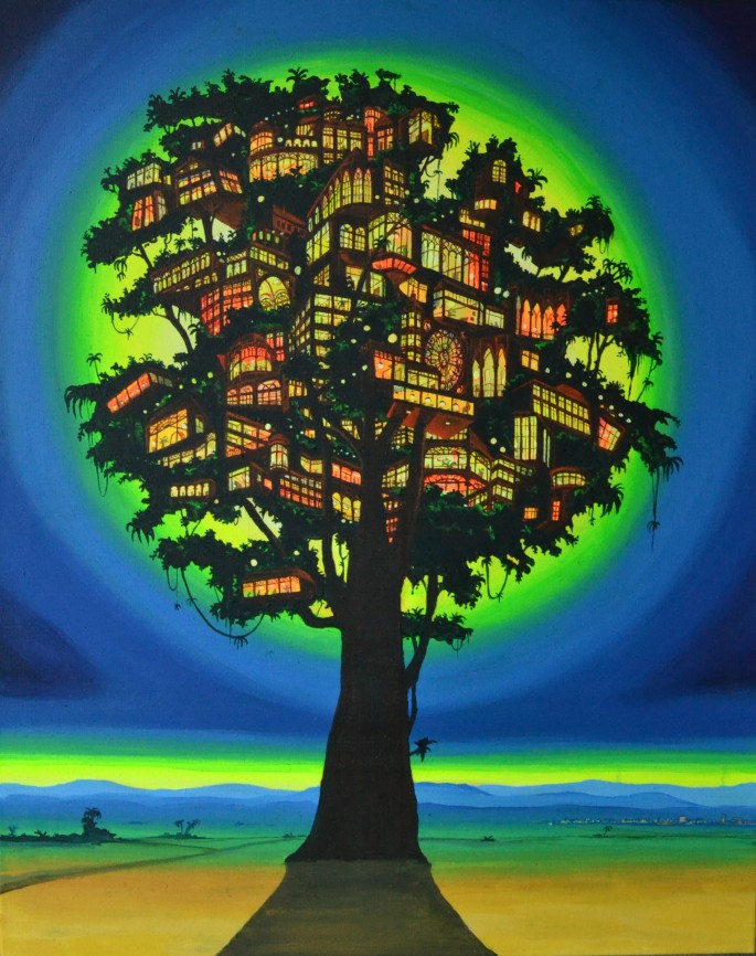 tree house, 90 x 70 cm, acrylic on canvas